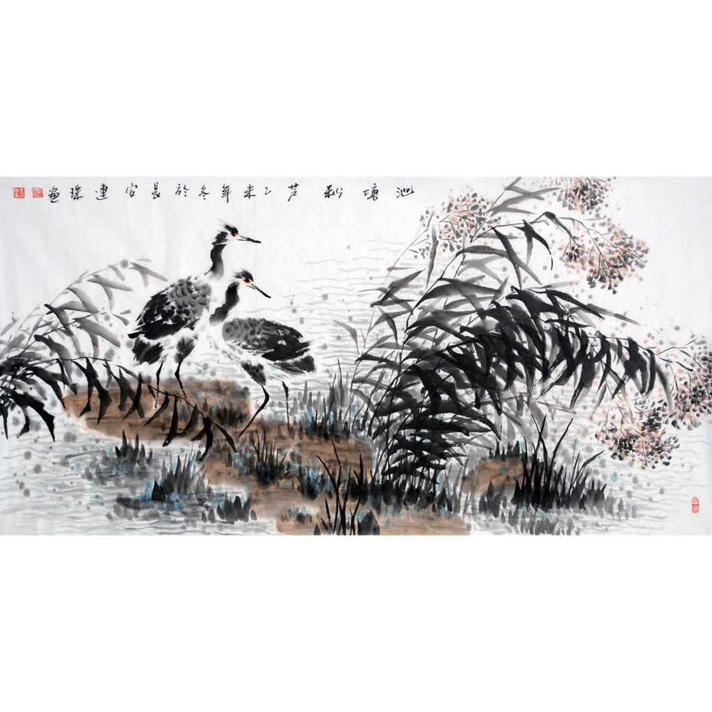 池塘秋芦  (138cm*69cm)