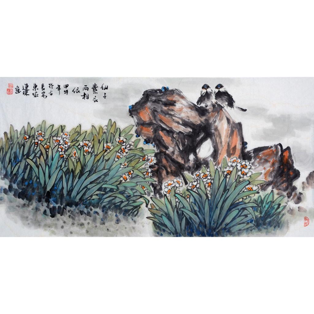 仙子素衣两相依  (138cm*69cm)