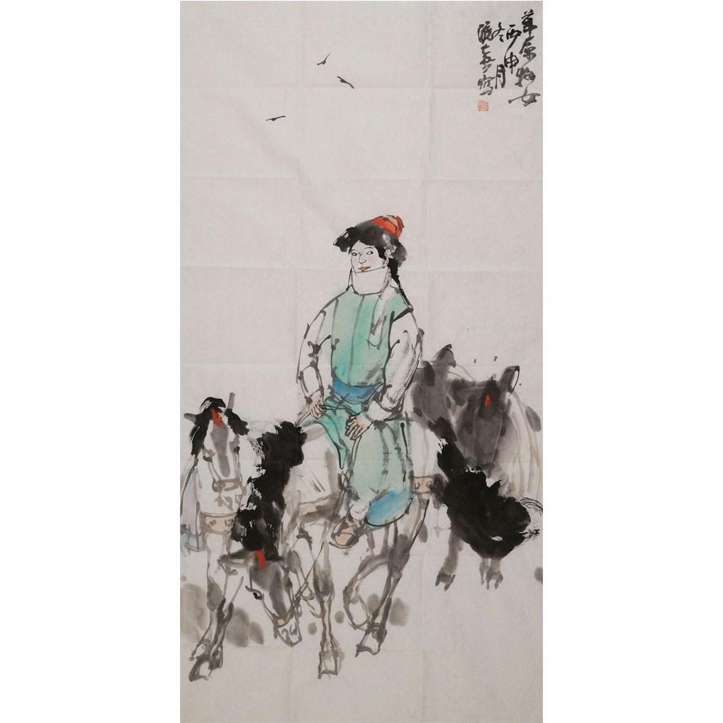 草原牧女 (138cm*69cm)兰台藏品