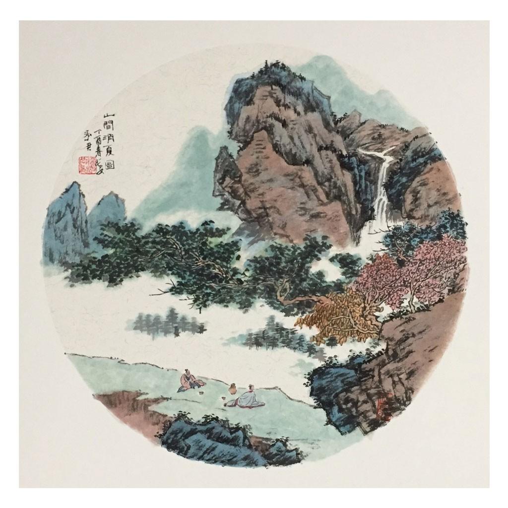 山涧消夏图 (50cm*50cm)