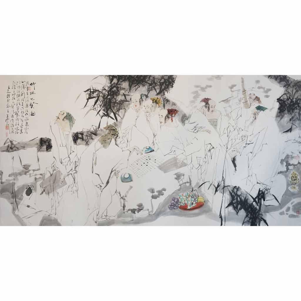 竹林七贤图 (129cm*248cm)